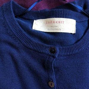 Zara Dark Blue / Navy Knit Button Down Cardigan S